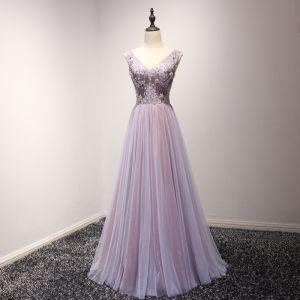 Chic / Belle Lilas Robe De Bal 2018 Princesse Perle Cristal Paillettes Noeud V-Cou Dos Nu Sans Manches Longue Robe De Ceremonie