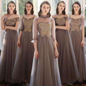 Asequible Marrón Vestidos De Damas De Honor 2020 A-Line / Princess Rebordear Largos Ruffle Vestidos para bodas