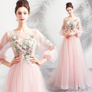 Fée Des Fleurs Perle Rose Transparentes Robe De Soirée 2018 Princesse Encolure Dégagée Manches Longues Fleur Perle Appliques En Dentelle Chapel Train Volants Dos Nu Robe De Ceremonie