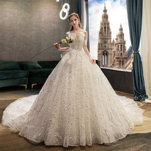 Classy Ivory Wedding Dresses 2019 Ball Gown Strapless Sequins Lace Flower Sleeveless Backless Royal Train