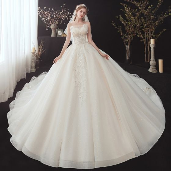 Chic / Beautiful Champagne Bridal Wedding Dresses 2020 Ball Gown Strapless Sleeveless Backless Appliques Sequins Beading Glitter Tulle Cathedral Train Ruffle