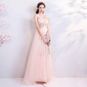 Schöne Rosa 2018 Abendkleider V-Ausschnitt Tülle A Linie Lange Sommer Perlenstickerei Schmetterling Applikationen Rückenfreies Abend Festliche Kleider
