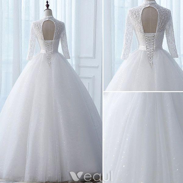 Vintage Wedding Dresses 2017 High Neck Applique Buttons