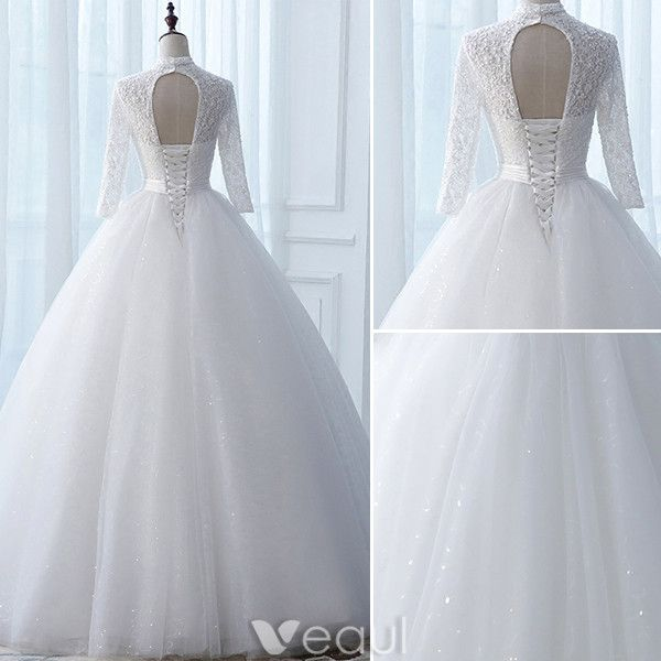 Vintage Wedding Dresses 2017 High Neck Applique Buttons White Glitter Tulle Bridal Gowns