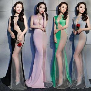 Seksowne Przezroczyste Sukienki Wieczorowe 2019 Syrena / Rozkloszowane Wycięciem Bez Rękawów Długie Wzburzyć Sukienki Wizytowe