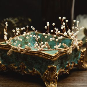 Chic / Beautiful Gold Bridal Hair Accessories 2020 Metal Alloy Pearl Rhinestone Tiara Wedding Accessories