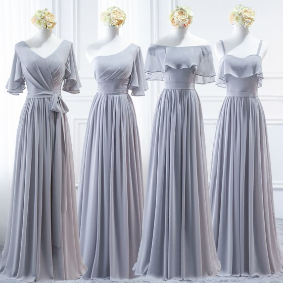 Modest / Simple Grey Chiffon Bridesmaid Dresses 2018 A-Line / Princess Sash Floor-Length / Long Ruffle Backless Wedding Party Dresses