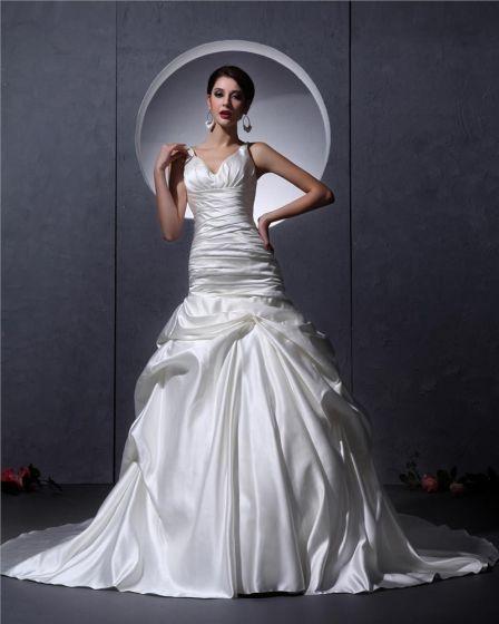 Rüschen V-ausschnitt Satin Gericht Mermaid Brautkleider Hochzeitskleid