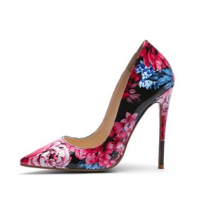 Fashion Multi-Colors Outdoor / Garden Floral Pumps 2020 Patent Leather 12 cm Stiletto Heels Pointed Toe Pumps