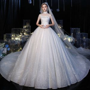 Roman White Bridal Wedding Dresses 2020 Ball Gown Sweetheart Sleeveless Appliques Lace Backless Glitter Tulle Sequins Beading Cathedral Train Ruffle