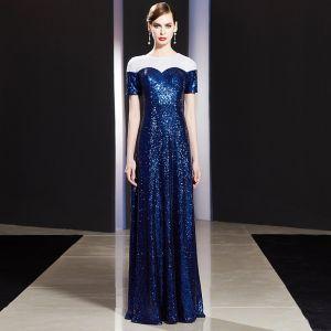 Sparkly Royal Blue Evening Dresses  2019 A-Line / Princess Sequins Scoop Neck Short Sleeve Floor-Length / Long Formal Dresses