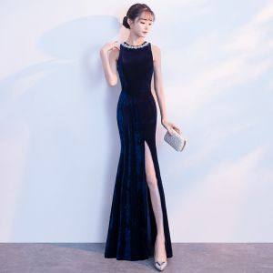 Sexy Navy Blue Evening Dresses  2018 Trumpet / Mermaid Rhinestone Scoop Neck Sleeveless Floor-Length / Long Formal Dresses