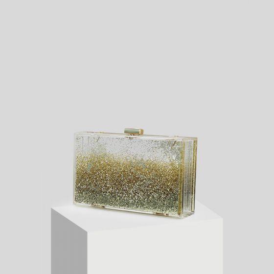 Transparent Gold Glitter Acrylic Clutch Bags 2019