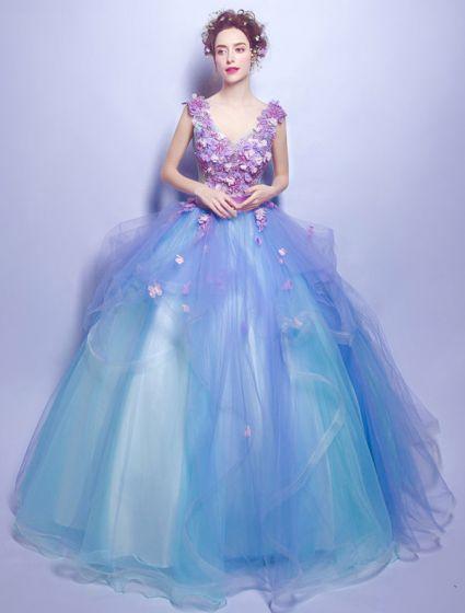 Kwiatowe Sukienki Na Bal 2017 V-neck Aplikacja Płatki Wzburzyć Niebieskim Tiulu Sukienki Wizytowe