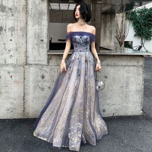 Elegant Navy Blue Gold Evening Dresses  2020 A-Line / Princess Off-The-Shoulder Short Sleeve Glitter Tulle Beading Floor-Length / Long Ruffle Backless Formal Dresses