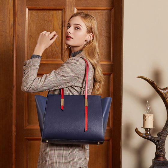 Minimalistisch Marineblau Quadratische Tragetasche Schultertaschen 2021 Leder Freizeit Damentaschen