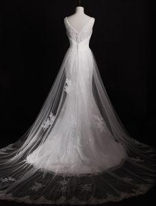 Robes De Mariage Magnifique 2016 Sirène Applique En Dentelle Perlage Strass Perles À Long Train Tulle Robes De Mariée