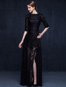 Urocze Czarne Koronki Suknia Wieczorowa Długa Sukienki Wizytowe Z Pół Rękawy
