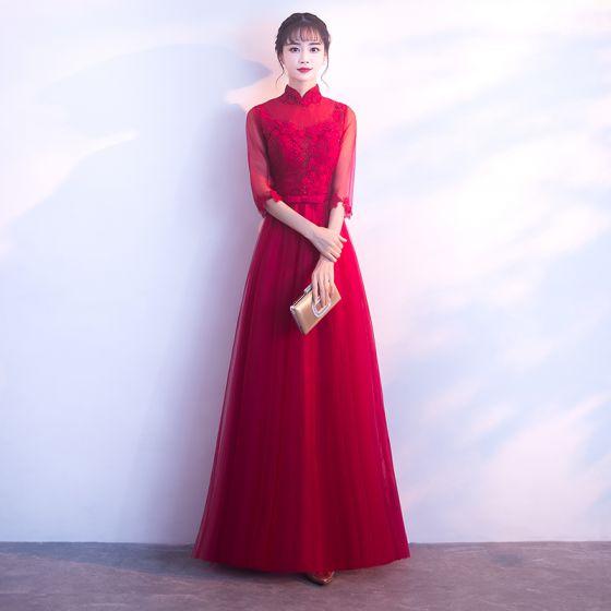 Schöne Rot Abendkleider 2017 A Linie Spitze Applikationen Schleife Kristall Stehkragen 3/4 Ärmel Knöchellänge Festliche Kleider