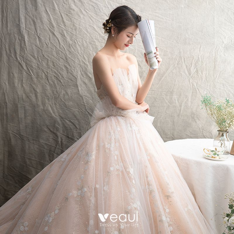Luxury / Gorgeous Champagne Wedding Dresses 2019 Ball Gown Sweetheart Sleeveless Backless Appliques Lace Beading Glitter Tulle Cathedral Train Ruffle