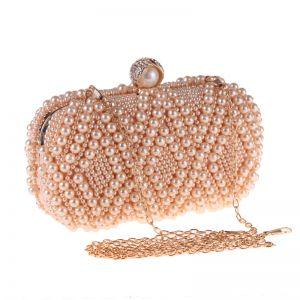 Luxury / Gorgeous Champagne Pearl Metal Clutch Bags 2018