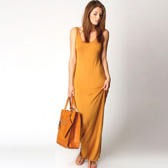 Modest / Simple Summer Yellow Maxi Dresses 2018 Sheath / Fit Scoop Neck Sleeveless Ankle Length Womens Clothing