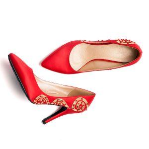 Tete De Poisson Rouge Strass Brille Mariée De Chaussures / Chaussures De Mariage / Chaussures Femme