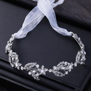 Chic / Beautiful Silver Metal Accessories 2018 Rhinestone Lace-up Headpieces