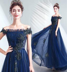 Vintage / Originale Bleu Marine Robe De Bal 2020 Princesse Volants De l'épaule Cristal Glitter Tulle Manches Courtes Dos Nu Longue Robe De Ceremonie