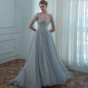 Chic Gris Robe De Bal 2020 Princesse De l'épaule Manches Courtes Perlage Glitter Tulle Train De Balayage Volants Dos Nu Robe De Ceremonie