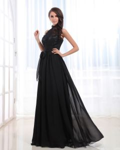 Halter Neckline Floor Length Lace Pleated Chiffon Empire Woman Evening Dress