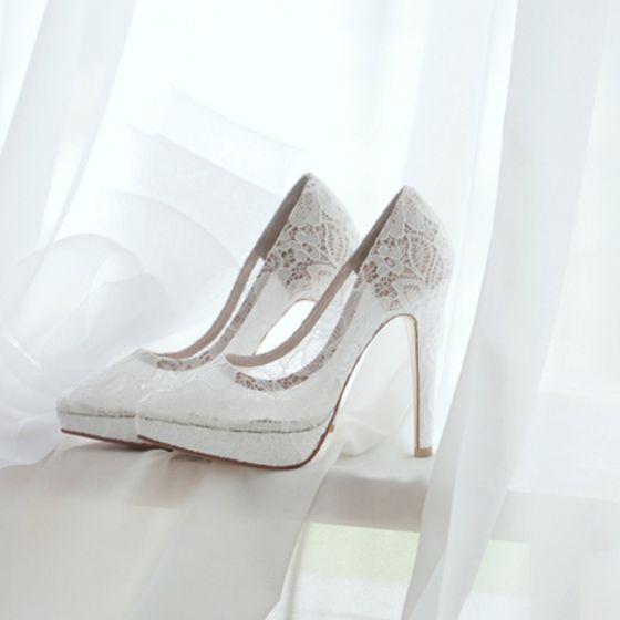 Chic / Belle Blanche Chaussure De Mariée 2018 Mariage Transparentes Dentelle 10 cm Talons Aiguilles À Bout Pointu Escarpins
