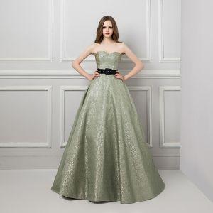 Bling Bling Sage Green Glitter Jacquard Prom Dresses 2019 A-Line / Princess Sweetheart Sleeveless Sash Court Train Ruffle Backless Formal Dresses
