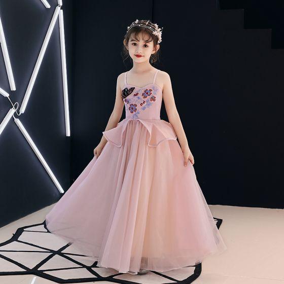 6681f4fafec Élégant Perle Rose Robe Ceremonie Fille 2019 Princesse Bretelles Spaghetti  Sans Manches Appliques En Dentelle Perlage ...