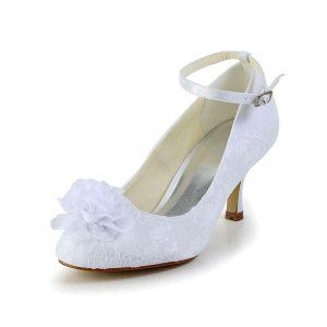 Bombas Hermosa Tacón De Aguja De Encaje Blanco Zapatos De Novia De La Boda Con La Flor Hecha A Mano