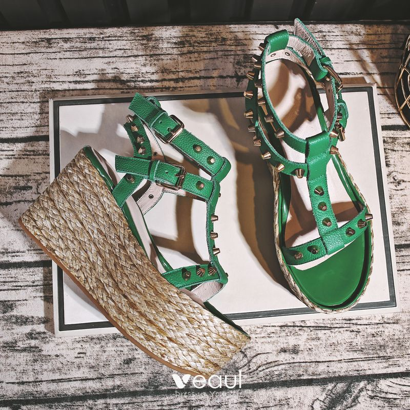 Modern / Fashion 2017 Green Outdoor / Garden Leather Summer Rivet High Heels Thick Heels Sandals Open / Peep Toe Womens Sandals
