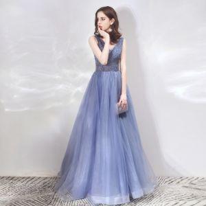 Luxe Bleu Roi Robe De Soirée 2019 Princesse V-Cou Sans Manches Perlage Glitter Tulle Longue Volants Dos Nu Robe De Ceremonie