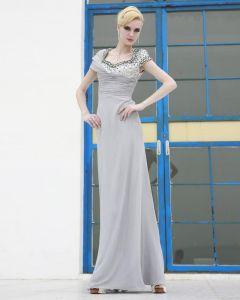 Charmeuse De Maille De Soie Plissee Perles Cou-parole Robes De Soirée De Longueur Carres