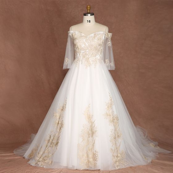 Chic / Beautiful Gold White Plus Size Wedding Dresses 2019 A-Line /  Princess Lace Tulle Appliques Backless Embroidered Handmade Strapless  Chapel Train ...