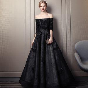 Eleganckie Czarne Sukienki Wieczorowe 2019 Princessa Przy Ramieniu Frezowanie Z Koronki Kwiat Kryształ 3/4 Rękawy Bez Pleców Długie Sukienki Wizytowe