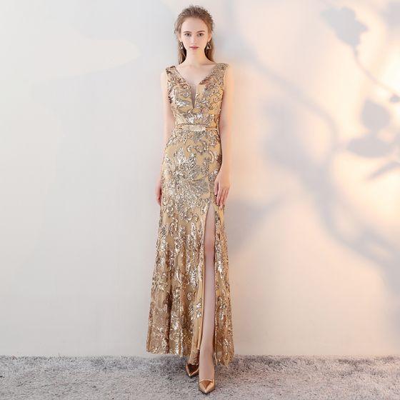 De Doré Moderne Soirée Mode V Trompette Cou Robe Sirène 2017 OxwwAU
