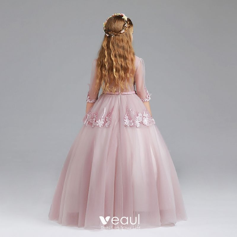 Vintage Blushing Pink Flower Girl Dresses 2017 Ball Gown