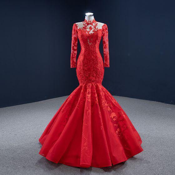 High End Rot Roter Teppich Abendkleider 2020 Meerjungfrau Durchsichtige Stehkragen Lange Ärmel Applikationen Spitze Lange Rüschen Festliche Kleider