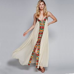 Chic / Beautiful Beige Summer Beach Maxi Dresses 2018 Embroidered Spaghetti Straps Backless Sleeveless Ankle Length