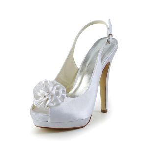 White Bridal Shoes Slingbacks Stilettos High Heel Platform Peep Toe With Flower