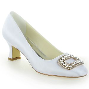 Classic Round Toe Mid Heels White Satin Pumps Bridal Wedding Shoes With Rhinestone