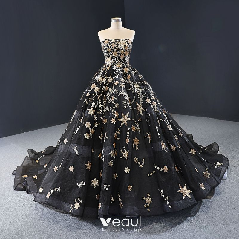 High End Black Prom Dresses 2020 Ball Gown Strapless