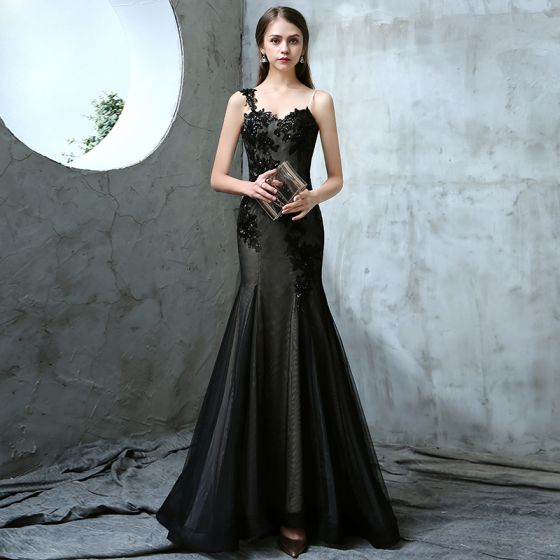 Chic / Beautiful Black Evening Dresses  2017 Trumpet / Mermaid Spaghetti Straps Sleeveless Appliques Lace Sequins Floor-Length / Long Ruffle Backless Formal Dresses