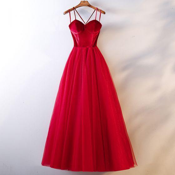 Snygga / Fina Röd Aftonklänningar 2019 Prinsessa Spaghettiband Mocka Rosett Ärmlös Halterneck Långa Formella Klänningar