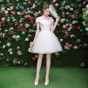 Sexy Ivory Party Dresses Crossed Straps 2019 A-Line / Princess Off-The-Shoulder Sequins Lace Flower Short Sleeve Backless Short Formal Dresses